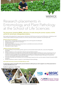 Research placements in Entomology and Plant Pathology