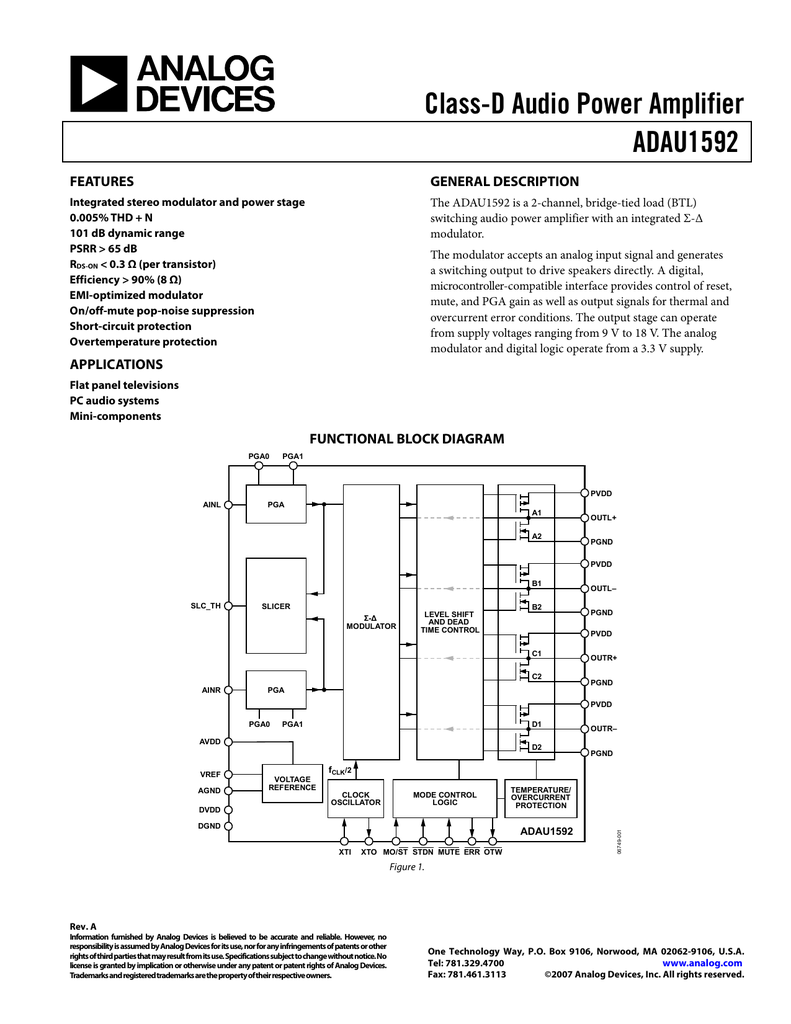 Class D Audio Power Amplifier Adau1592 Features Figure 1 Schematic For A Stereo Btl Classd