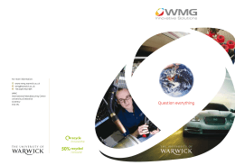 For more information: www.wmg.warwick.ac.uk  +44 (0)24 7652 4871