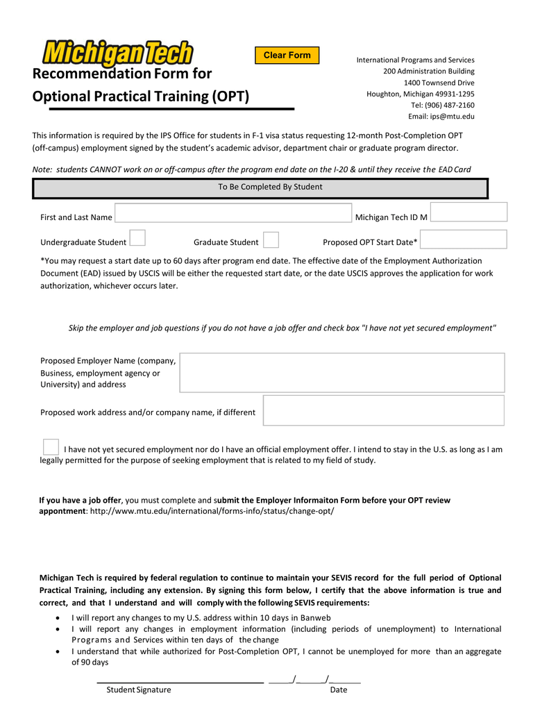 Recommendation Form for Optional Practical Training (OPT) Clear Form