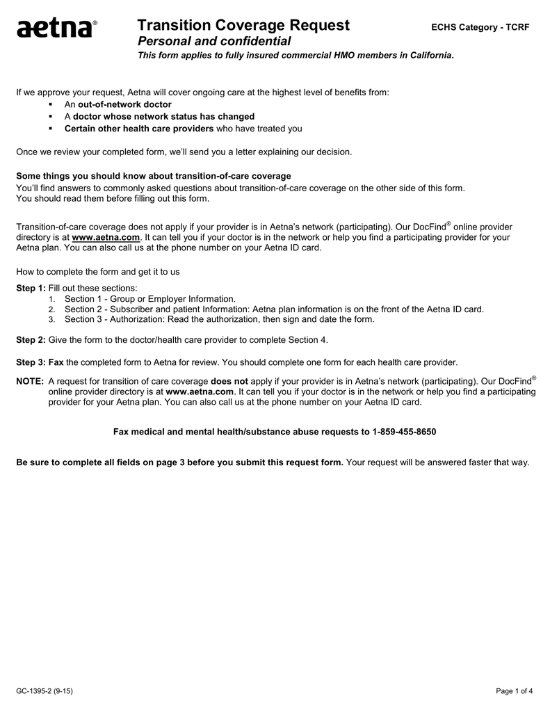 Transition Coverage Request Personal And Confidential