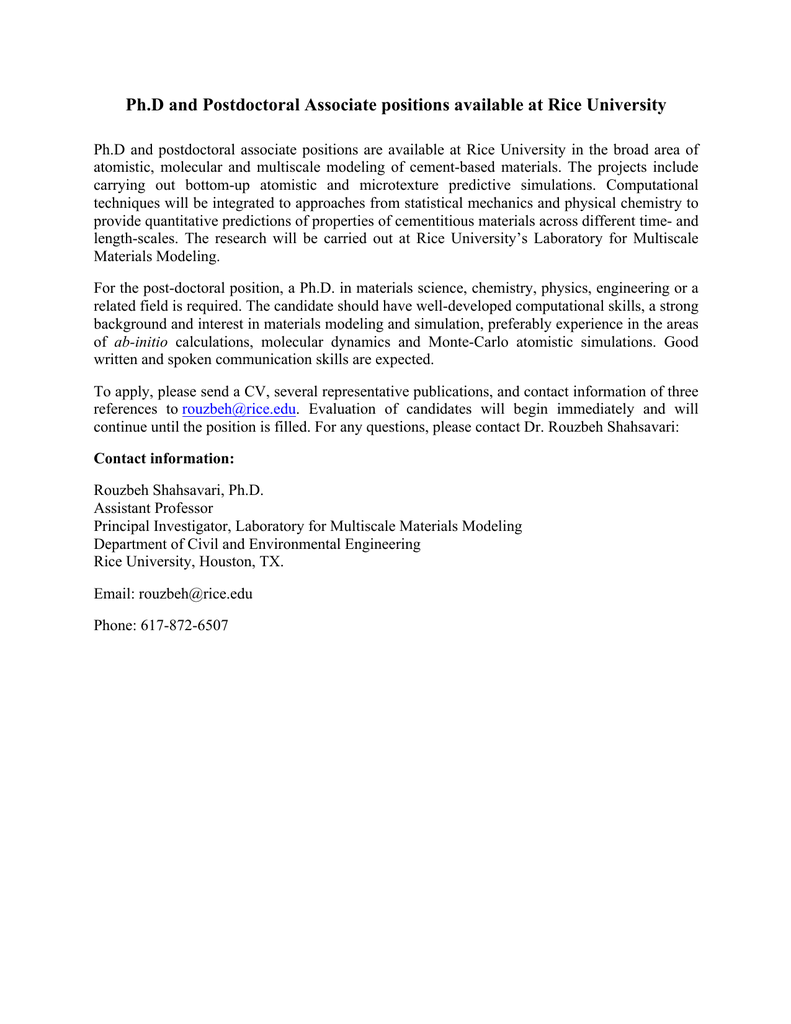 Ph D and Postdoctoral Associate positions available at Rice
