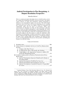 Judicial Participation in Plea Bargaining: A Dispute Resolution Perspective R B