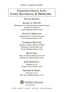 & CONSTITUTIONAL LAW: CASES,  MATERIALS, PROBLEMS