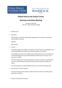Global History and Culture Centre Steering committee Meeting