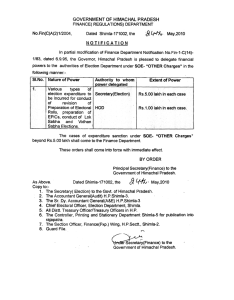 GOVERNMENT OF HIMACHAL PRADESH FINANCE( REGULA TtONS) DEPARTMENT No. Fin(C)A(2) 1/2004, NOTIFICATION