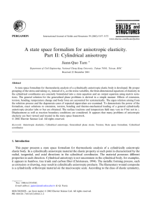 A state space formalism for anisotropic elasticity. Part II: Cylindrical anisotropy