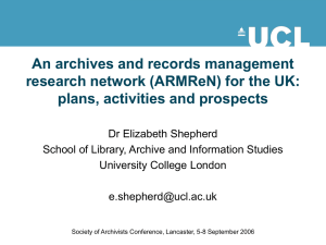 An archives and records management research network (ARMReN) for the UK:
