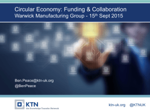 Thank you Circular Economy: Funding & Collaboration Warwick Manufacturing Group - 15