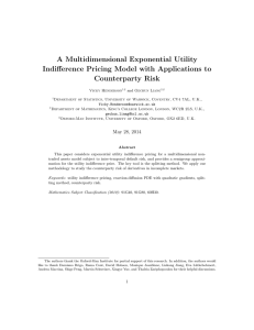 A Multidimensional Exponential Utility Indifference Pricing Model with Applications to Counterparty Risk