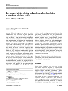 Tree squirrel habitat selection and predispersal seed predation