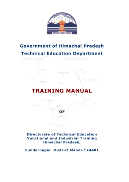 TRAINING MANUAL  Government of Himachal Pradesh Technical Education Department