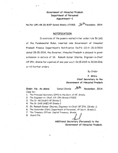 Government of Himachal Pradesh Department of Personnel Appointment- I No.Per (AP) AB (3)-8/07
