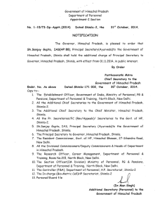 Government of Himachal Pradesh Department of Personnel Appointment-I Section
