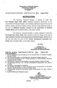 Government of Himachal Pradesh Department of Personnel Appointment-IV No,Per(A,·IV}-B(6}-1/2012(Part},