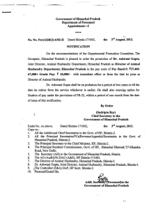 Government of Himachal Pradesh Department of Personnel Appointment-I the