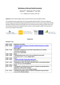 Workshop on Risk and Family Economics Monday 9 – Wednesday 11 June 2014