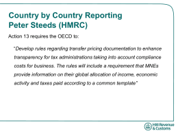 Country by Country Reporting Peter Steeds (HMRC)