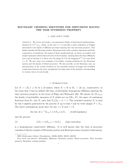 BOUNDARY CROSSING IDENTITIES FOR DIFFUSIONS HAVING THE TIME INVERSION PROPERTY