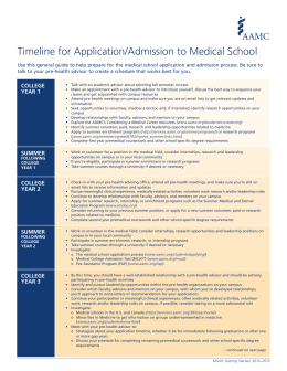 Timeline for Application/Admission to Medical School