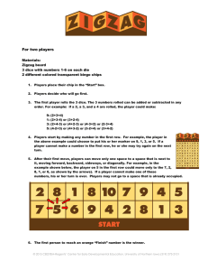 For two players Materials: Zigzag board