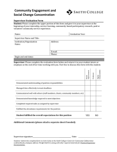 Community Engagement and Social Change Concentration Supervisor Evaluation Form