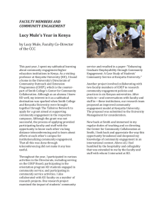 Lucy Mule's Year in Kenya FACULTY MEMBERS AND COMMUNITY ENGAGEMENT
