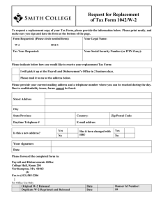 Request for Replacement of Tax Form 1042/W-2