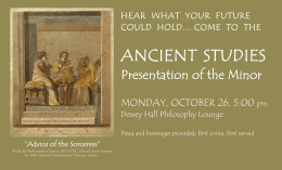 ANCIENT STUDIES Presentation of the Minor MONDAY, OCTOBER 26, 5:00