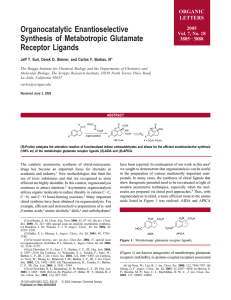 Organocatalytic Enantioselective Synthesis of Metabotropic Glutamate Receptor Ligands