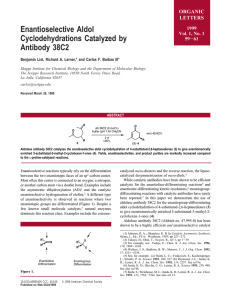 Enantioselective Aldol Cyclodehydrations Catalyzed by Antibody 38C2 ORGANIC