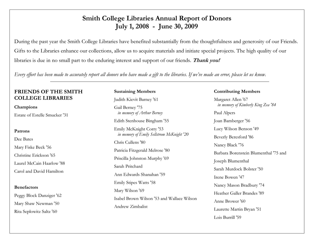 Smith College Libraries Annual Report of Donors