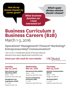 Business Curriculum 2 Business Careers (B2B) March 1-3, 2016 Operations? Management? Finance? Marketing?