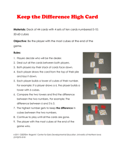 Keep the Difference High Card Materials: Objective: Rules: