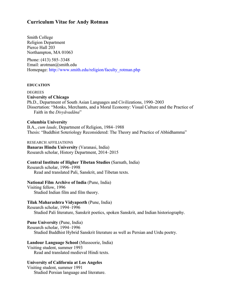 Curriculum Vitae for Andy Rotman