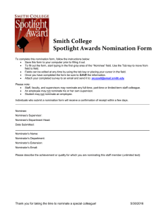 Smith College Spotlight Awards Nomination Form