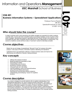 Management USC Marshall Who should take the course? IOM 401
