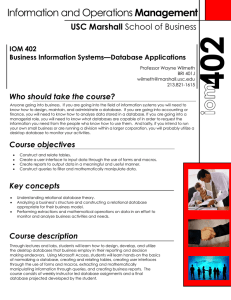Management USC Marshall Who should take the course? IOM 402