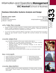 Management USC Marshall Business Information Systems Analysis and Design