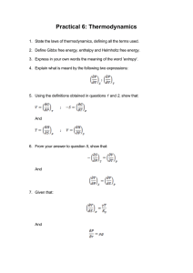 Practical 6: Thermodynamics