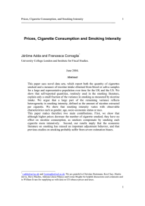 Prices, Cigarette Consumption and Smoking Intensity  Jérôme Adda and Francesca Cornaglia