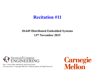 Recitation #11 ENGINEERING & 18-649 Distributed Embedded Systems