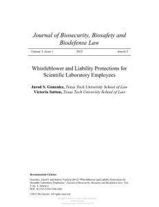 Journal of Biosecurity, Biosafety and Biodefense Law Whistleblower and Liability Protections for