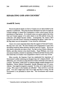 SEPARATING  GOD AND  COUNTRY* Arnold H.  Loewy 544