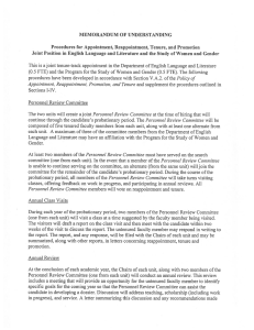 MEMORANDUM Of UNDERSTANDING Procedures for Appointment, Reappointment, Tenure, and Promotion