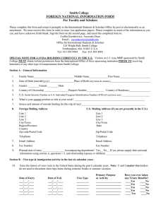 Smith College FOREIGN NATIONAL INFORMATION FORM For Faculty and Scholars