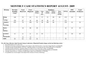 MONTHLY CASE STATISTICS REPORT AUGUST- 2009 Division Previous Cases