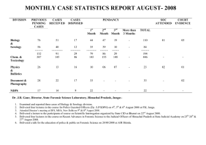 MONTHLY CASE STATISTICS REPORT AUGUST- 2008