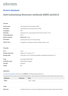 Anti-Luteinizing Hormone antibody (HRP) ab33618 Product datasheet Overview Product name