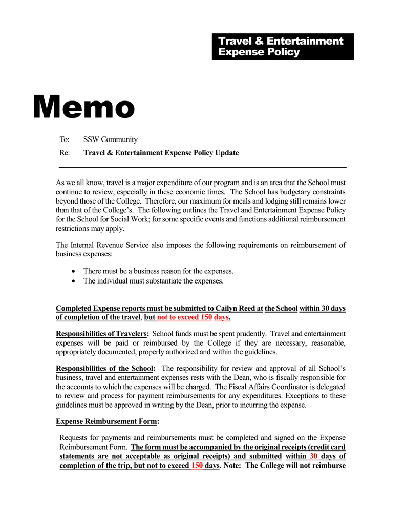Memo Travel & Entertainment Expense Policy
